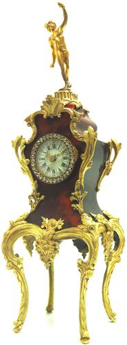 Antique French Shell & Ormolu 8-Day Mantel Clock Rococo Boulle Case Segment Dial (1 of 10)