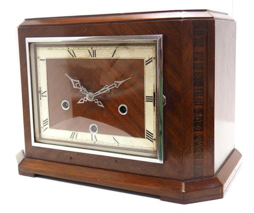 Smiths Art Deco Mantel Clock Triple Chime 8 Day Westminster Chime Mantle Clock. (1 of 8)