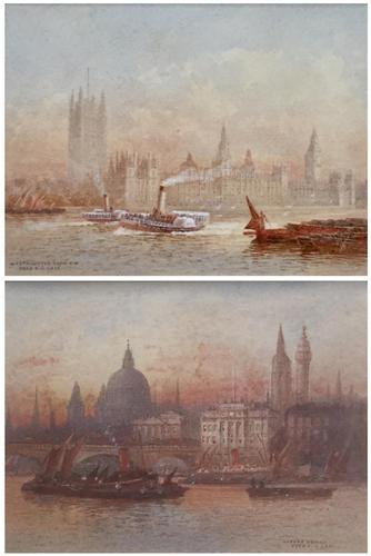 FrederickFREDERICK E.J.Goff Pair of Watercolours 'Westminster from the South West & London Bridge (1 of 5)