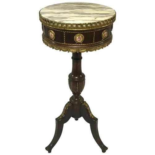 Decorative French Louis Revival Style Marble Top Side Table with Romantic Sèvres Plaques (1 of 38)