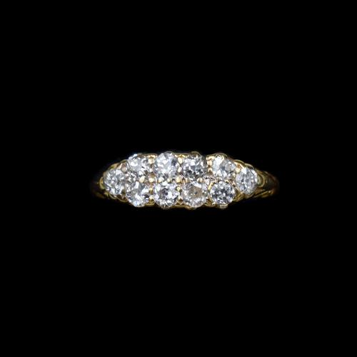 Antique Old Cut Diamond 10 Stone Double Row 18K 18ct Yellow Gold Scroll Ring (1 of 10)