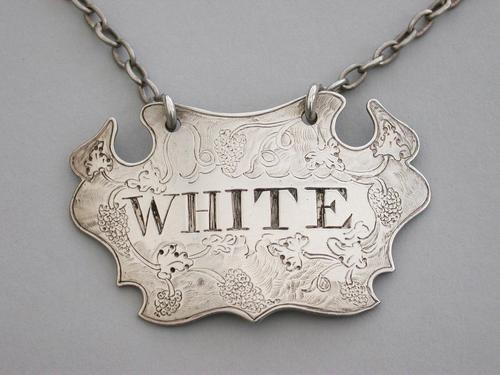 George II Chased Silver Escutcheon Wine Label White,  Unmarked c1750 (1 of 7)