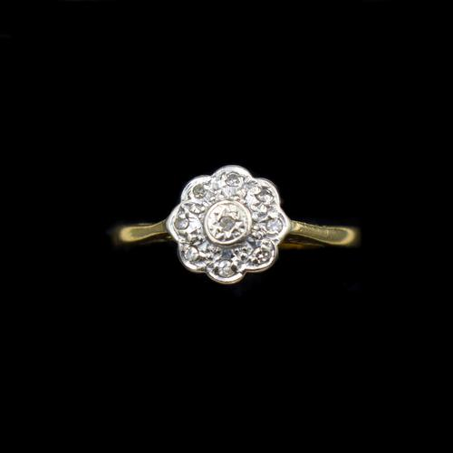 Vintage Diamond Cluster Flower Daisy 18ct 18K Yellow Gold Ring (1 of 10)
