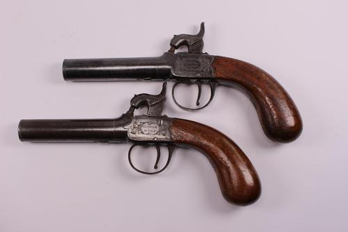 Pair of 19th Century 46 Bore Percussion Pocket Pistols Signed Clough & Son (1 of 6)