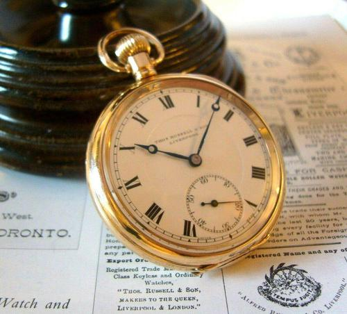 Antique Pocket Watch 1920 Thomas Russell 15 Jewel 10ct Rose Gold Filled Case Fwo (1 of 12)