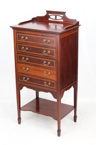Antique Edwardian Mahogany & Inlaid Music Cabinet (1 of 12)