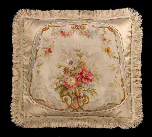 Cushion: 18th Century, Wool & Silk. Bouquet of Flowers (1 of 1)