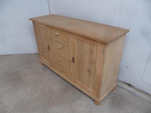 Antique Pine 2 Door 4 Drawer Dresser Base / TV Stand to wax / paint (1 of 8)