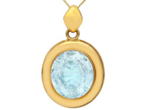 28.12ct Aquamarine & 9ct Yellow Gold Necklace - Antique c.1890 (1 of 9)