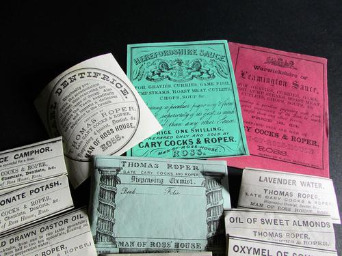 Collection Of Original Edwardian Chemist Labels relating to Ross on Wye Herefordshire (1 of 2)