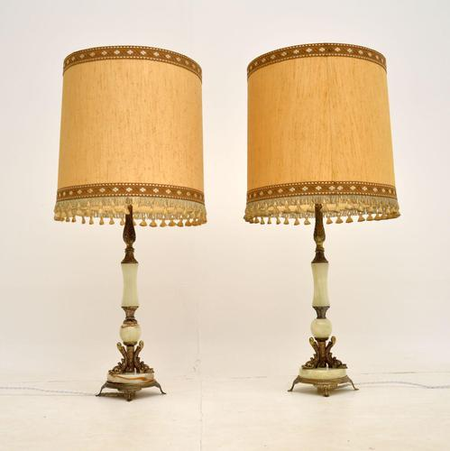 Pair of Onyx & Brass Table Lamps (1 of 11)