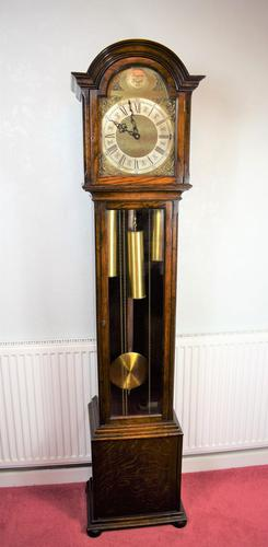 English Triple Weight Two Tune 'Westminster / Whittington / Silent' Glass Fronted Oak Grandmother or Small Grandfather Musical Longcase Clock (1 of 7)