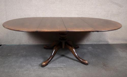 Large Reproduction Circular Oak Dining Table With Two Leaves / Seats 8 Persons (1 of 8)