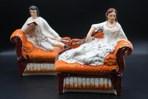 Unusual Pair of Mid 19th Century Staffordshire Reclining Figures (1 of 5)