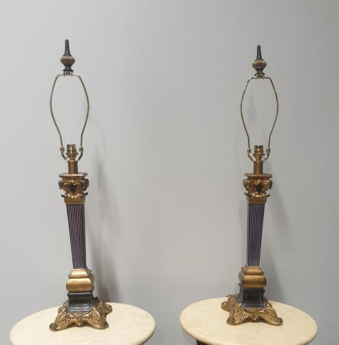 Nice Pair of Column Table Lamps (1 of 10)