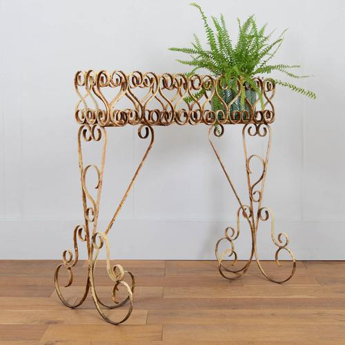 Wonderfully Aged 1950s Wrought Iron Plant Stand (1 of 12)