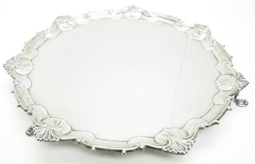 English Antique Solid Silver Salver, Super Design Fresh & Clean c.1919 (1 of 7)