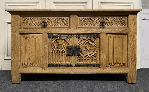 French Gothic Bleached Oak Sideboard (1 of 17)