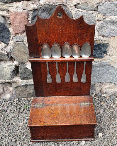 18th Century Oak Spoon Rack & Spoons (1 of 9)