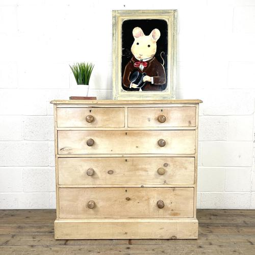 Antique Pine Chest of Drawers on Plinth Base (1 of 9)