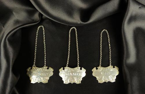 Three Victorian Silver Decanter Labels (1 of 2)