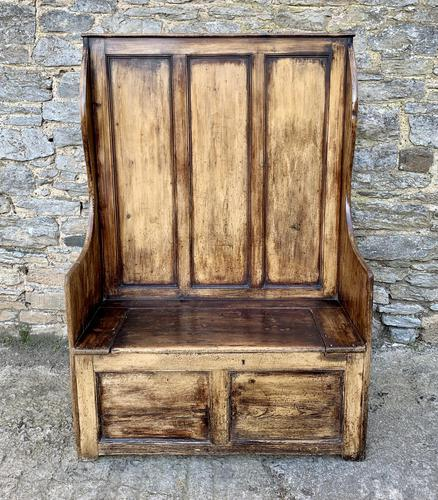 Antique Pine Panelled Box Settle (1 of 16)