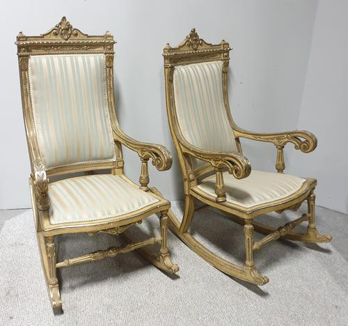 Pair of Regency Painted & Parcel Gilt Rocking Chairs (1 of 17)