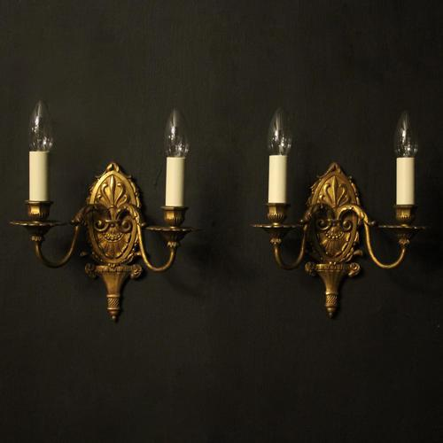 French Gilded Brass Twin Arm Antique Wall Lights (1 of 10)