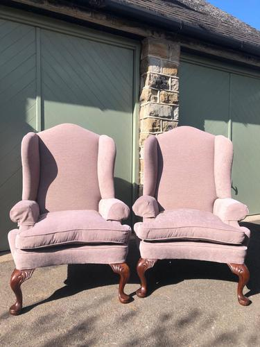 Pair of Antique English Upholstered Wing Armchairs (1 of 10)