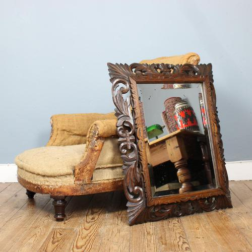 Late 19th Century French Carved Oak Cushion Mirror (1 of 4)