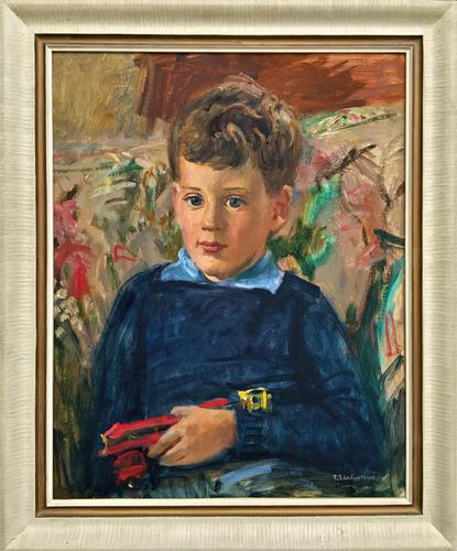 'Boy with Toy' Thomas Sherwood La Fontaine Superb Oil Portrait Painting (1 of 13)