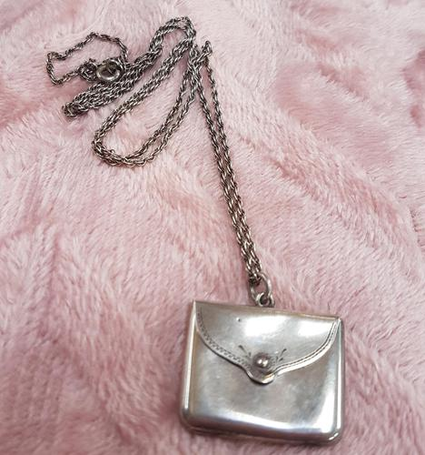 Sterling Silver Stamp Envelope on Silver Chain (1 of 3)