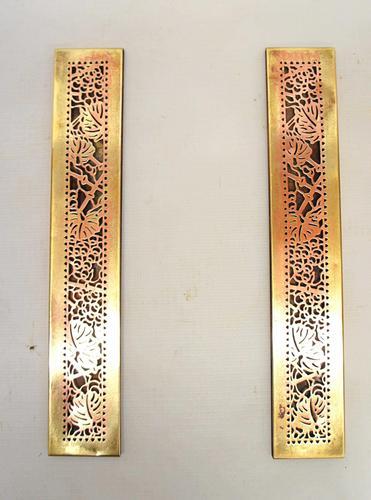 "Pair Tiffany Studios 12"" Brass Plated Desk Set  Blotter Ends 998  Grapevine (1 of 15)"