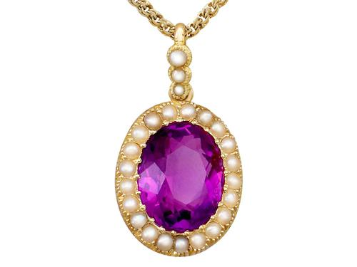 6.56 ct Amethyst and Pearl, 15 ct Yellow Gold Pendant - Antique Circa 1890 (1 of 12)