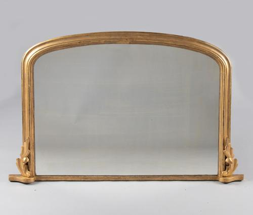 Large English Victorian Gilt Archtop Overmantle Mirror (1 of 6)