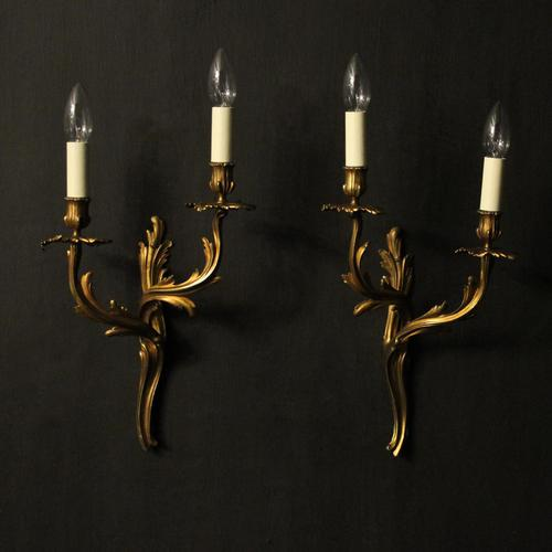 French Pair Of Bronze Antique Wall Sconces Oka (1 of 10)