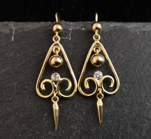 Antique Victorian Diamond Drop Earrings, 15ct Gold (1 of 10)
