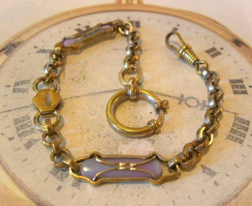 Art Nouveau Pocket Watch Chain 1900 Brass Albert with Pink & Blue Glass Panels (1 of 12)