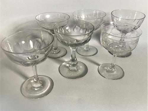 Victorian Harlequin Set of Cut / Etched Champagne Bowls (1 of 8)
