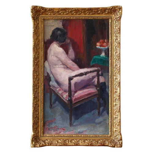 Oswald Poreau, Seated Nude In Leather Boots, Oil Painting (1 of 8)