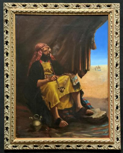 Beautiful Original 19thc Portrait Oil Painting of Smoking Arabian Gentleman (1 of 13)
