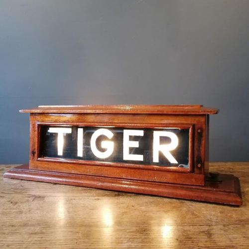 HMS TIGER Mahogany framed illuminated sign. Mid 20th Century militaria (1 of 12)