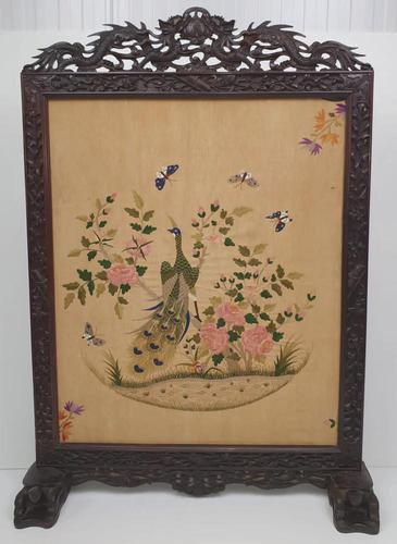 19th Century Chinese Mahogany Fire Screen with Silk Embroidered Panel (1 of 6)