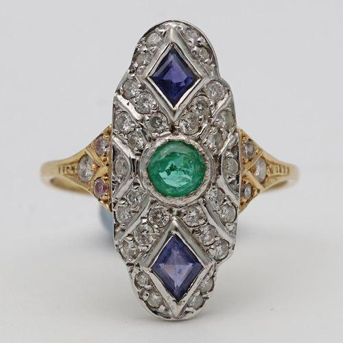 Art Deco Sapphire, Emerald & Diamond Cluster Ring (1 of 2)