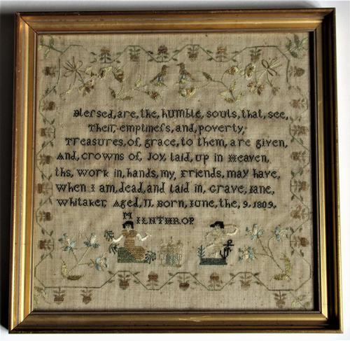 English Needlework Sampler by Jane Whitaker, Aged 11, 1820, Lake District (1 of 6)