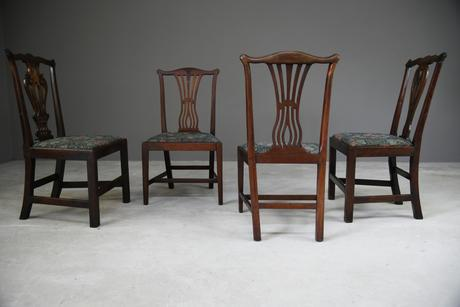 4 Antique Chippendale Style Mahogany Dining Chairs (1 of 12)