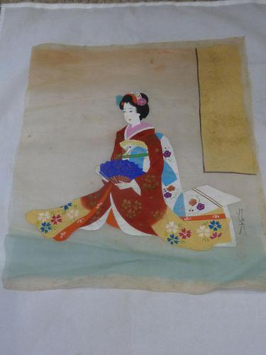 Late Meiji , early Taisho Period Japanese Painting of a Bijin- Signed (1 of 5)