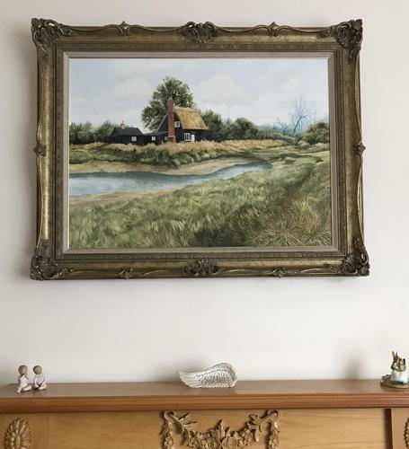 John Ridgewell Essex Cottage Superb Large Oil Painting Excellent Frame (1 of 9)