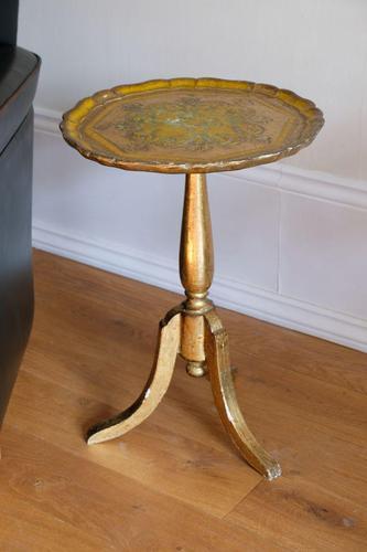 Gold giltwood Florentine three legged pedestal table (1 of 6)