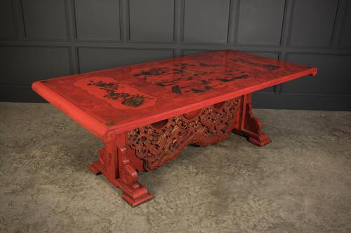 Red Chinoiserie Lacquered Dining Table (1 of 9)